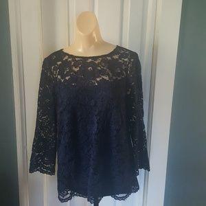 Roz&Ali Crocheted Flower Dress Shirt 3 1/4 Sleeve